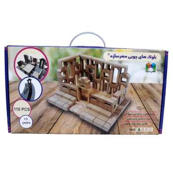 بازی آموزشی مهرسازه مدل بلوک های چوبی  110 قطعه