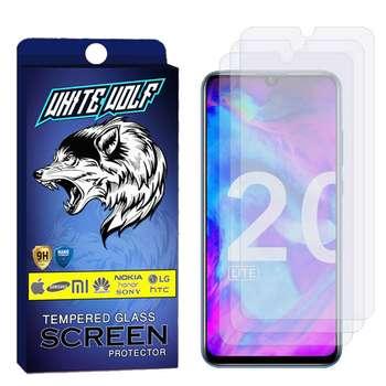 محافظ صفحه نمایش وایت ولف مدل WGS مناسب برای گوشی موبایل آنر 20 lite 2019  بسته 3 عددی