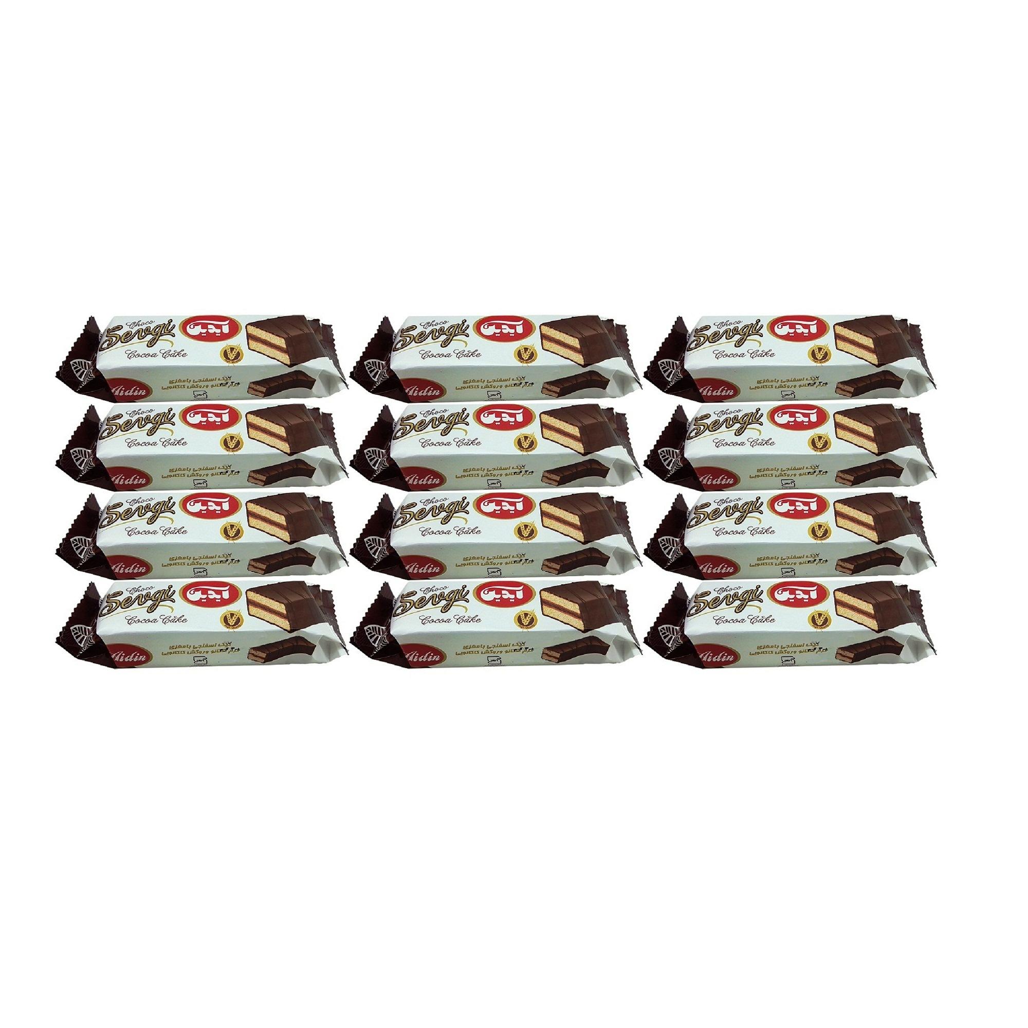 کیک اسفنجی با مغزی کرم کاکائو و روکش کاکائویی آیدین - 30 گرم بسته 12 عددی  thumb 2