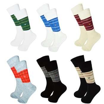 جوراب مردانه آکام طرح های کلاس کد 22 مجموعه 6 عددی