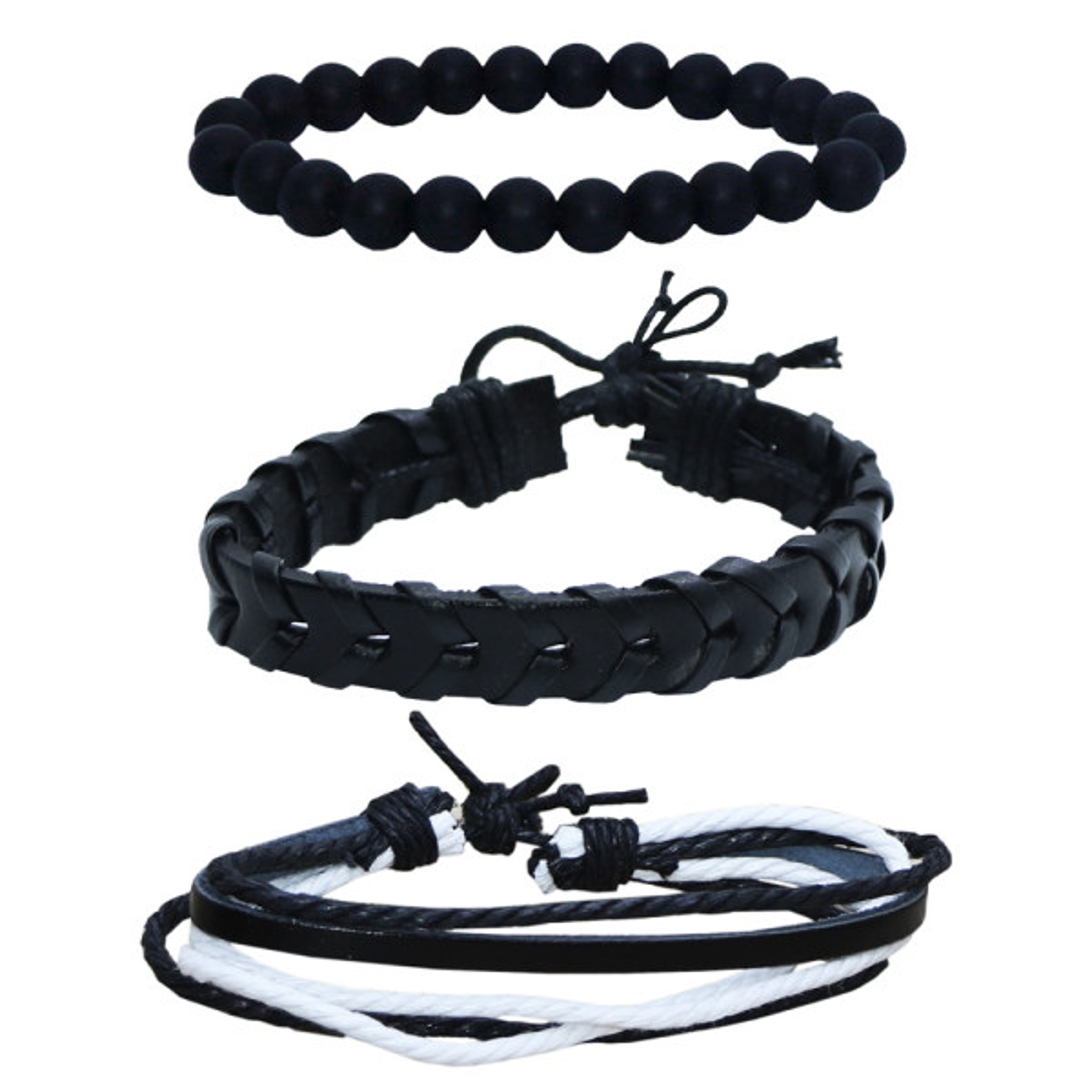 دستبند مردانه کد chf014 مجموعه 3 عددی