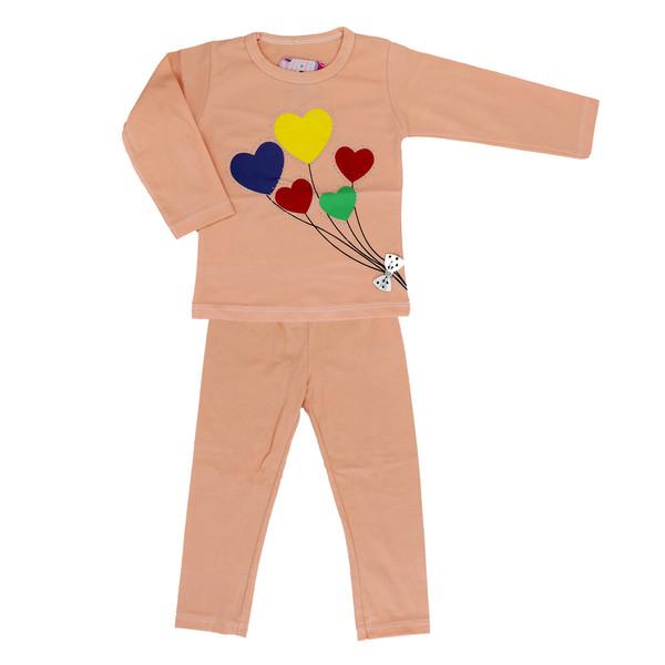 ست تی شرت و شلوار دخترانه طرح قلب کد 1-102