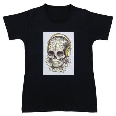 تصویر تیشرت زنانه طرح جمجمه کد IMG_1051