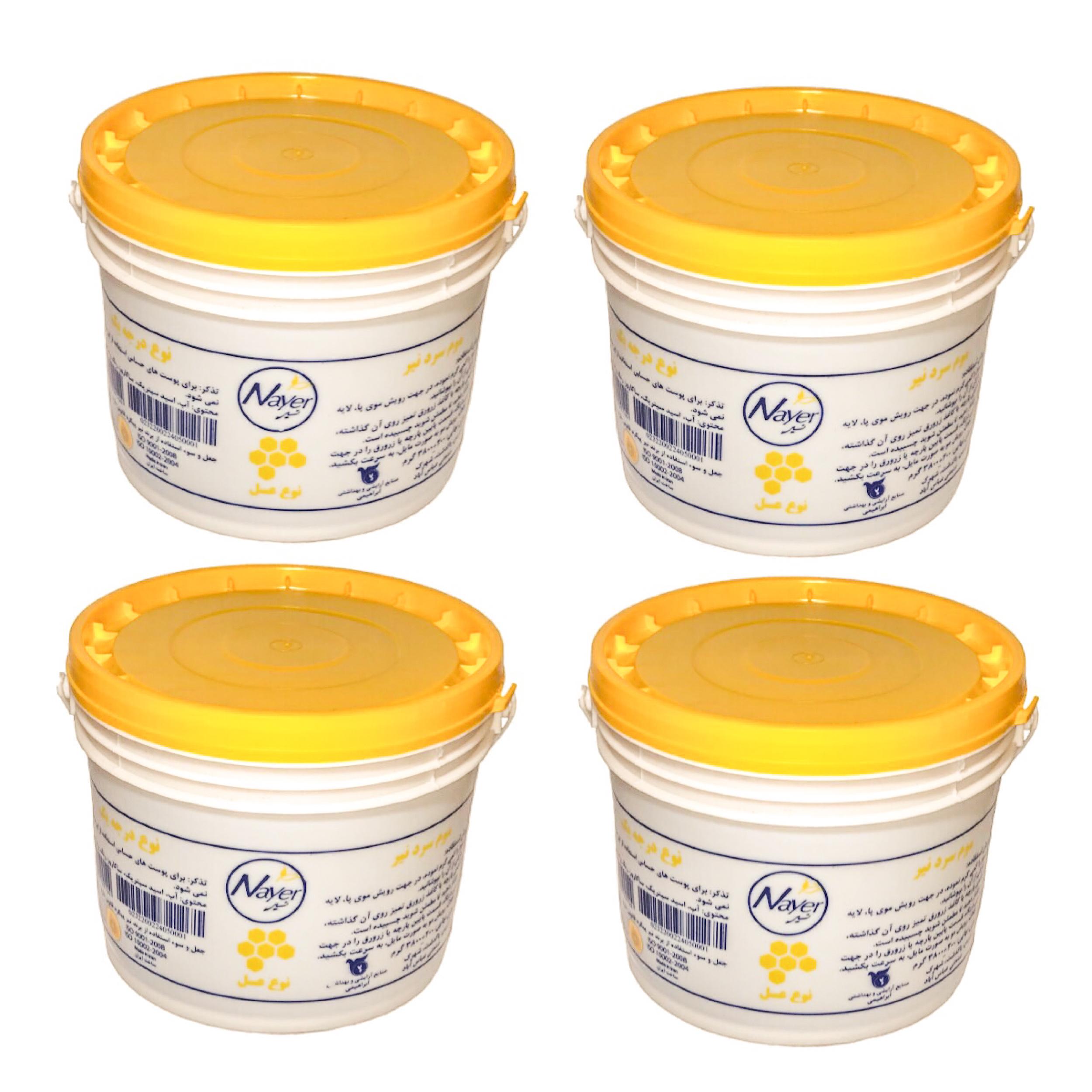 خرید                      موم موبر نیر مدل Honey  وزن 3800 گرم بسته 4 عددی              ✅