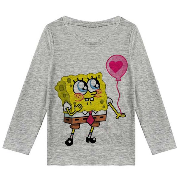 تی شرت آستین بلند پسرانه طرح باب اسفنجی کد R53