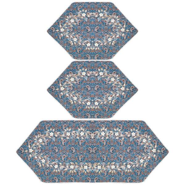 ست 3 تکه رومیزی سرمه دوزی مدل شکوفه عباسی کد SDFT