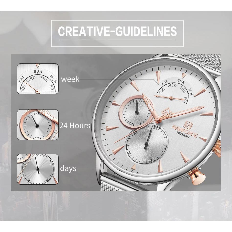 خرید                                     ساعت مچی عقربه ای مردانه نیوی فورس کد NF3010M -S-W
