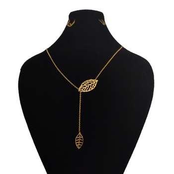 گردنبند طلا 18 عیار زنانه طرح برگ کد 12
