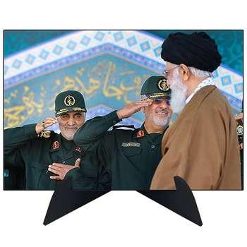 تابلو شاسی رومیزی طرح شهید سردار قاسم سلیمانی و ایت الله خامنه ای مدل AG-218