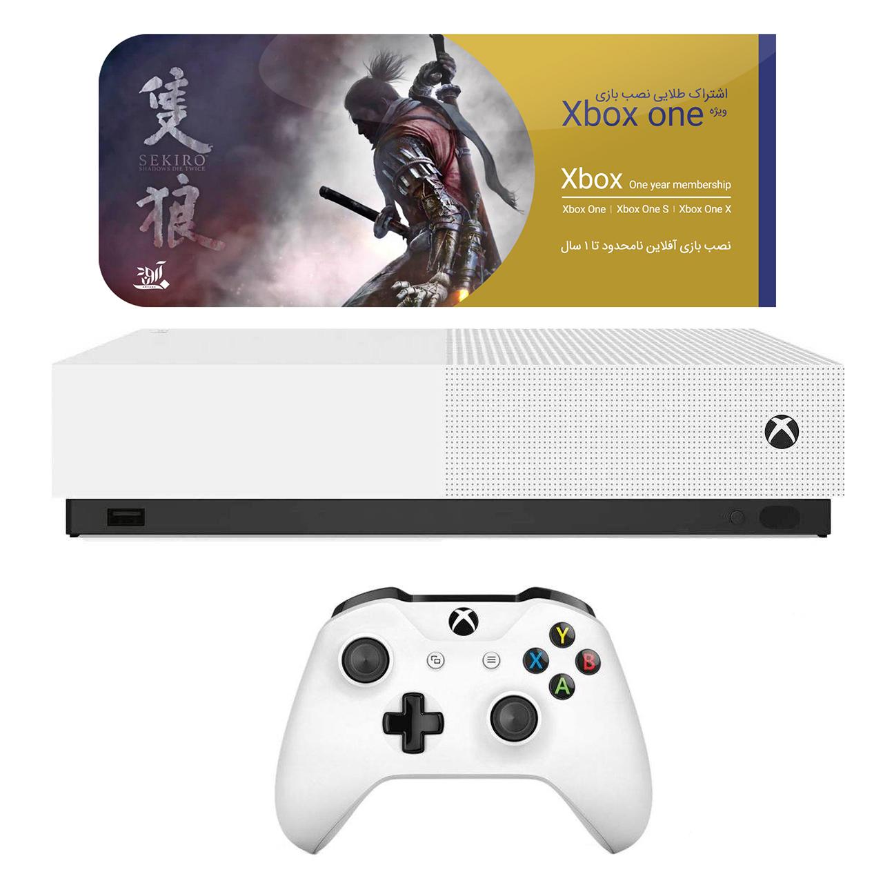 مجموعه کنسول بازی مایکروسافت مدل Xbox One S All Digital ظرفیت ۱ ترابایت به همراه ۲۰ عدد بازی