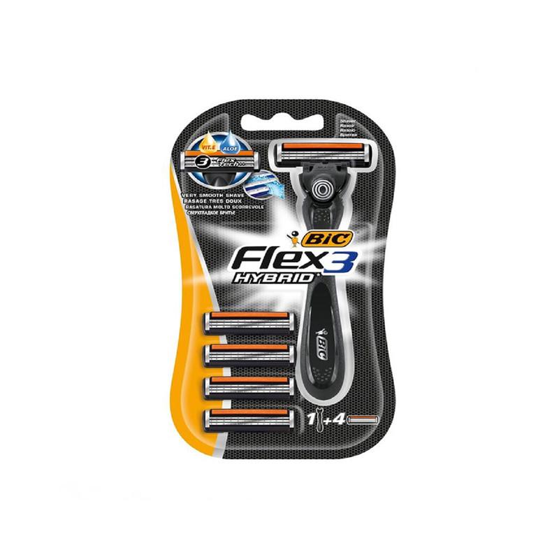 خود تراش بیک مدل Flax 3 Hybrid به همراه تیغ یدک بسته 4 عددی