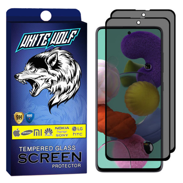 محافظ صفحه نمایش حریم شخصی وایت ولف مدل WGP مناسب برای گوشی موبایل سامسونگ Galaxy A51 بسته 2 عددی