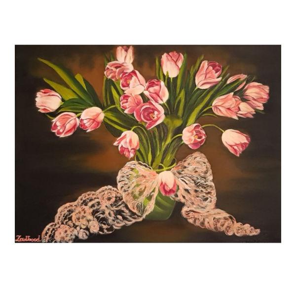 تابلو نقاشی رنگ روغن طرح گل کد P23