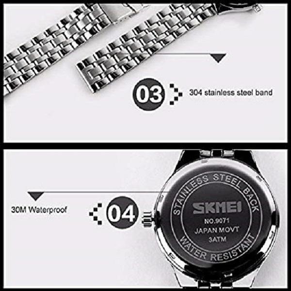 ست ساعت مچی عقربه ای زنانه و مردانه اسکمی مدل 9071 کد 02