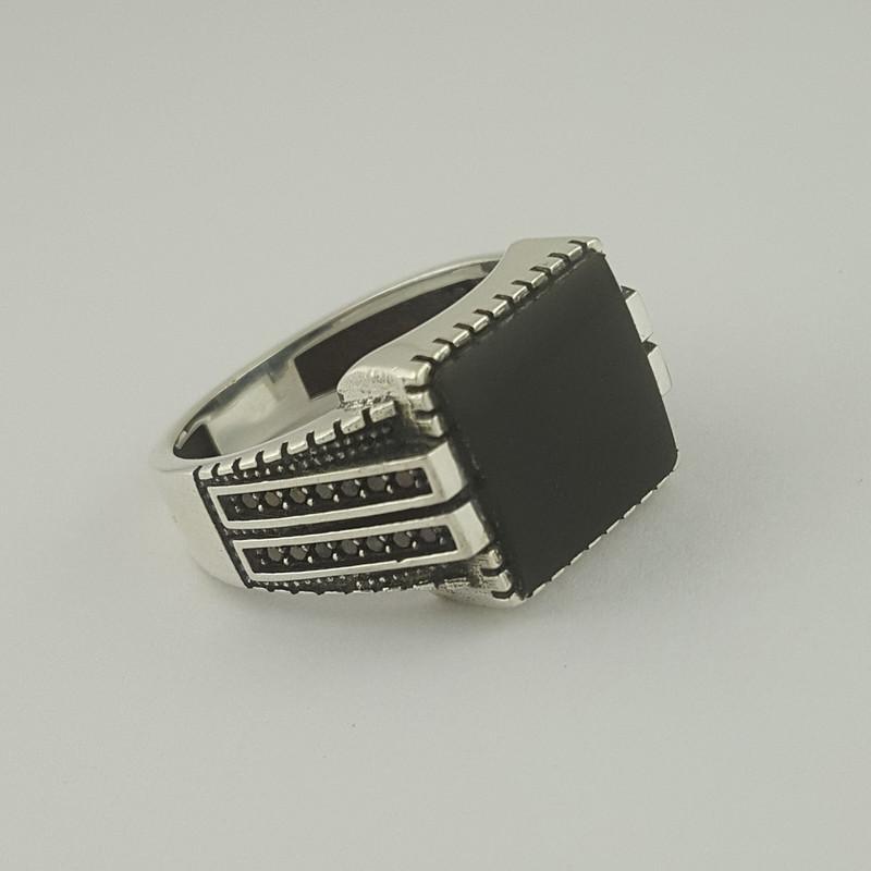 انگشتر نقره مردانه بلو استون کد 1065