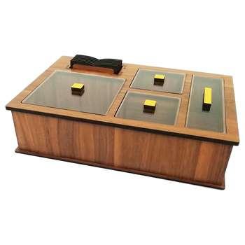 جعبه رومیزی تی بگ و تنقلات و زیرلیوانی مدل DR_BEST