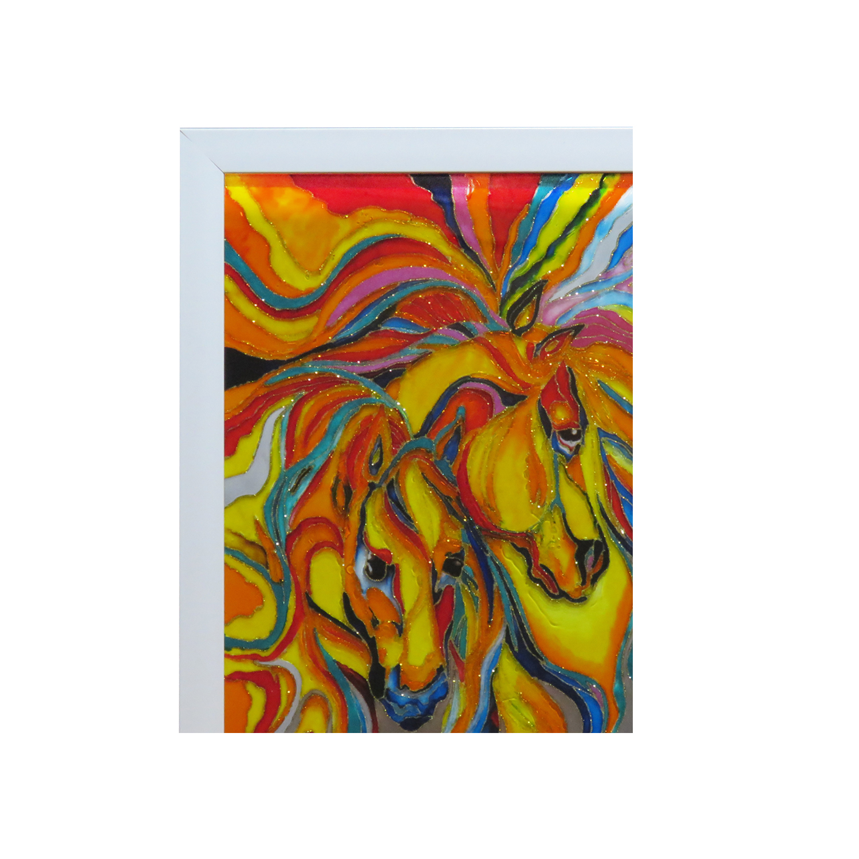 خرید                      تابلو ویترای طرح اسب کد 005