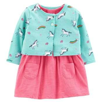 ست کت و پیراهن نوزادی دخترانه کارترز طرح تک شاخ کد M177