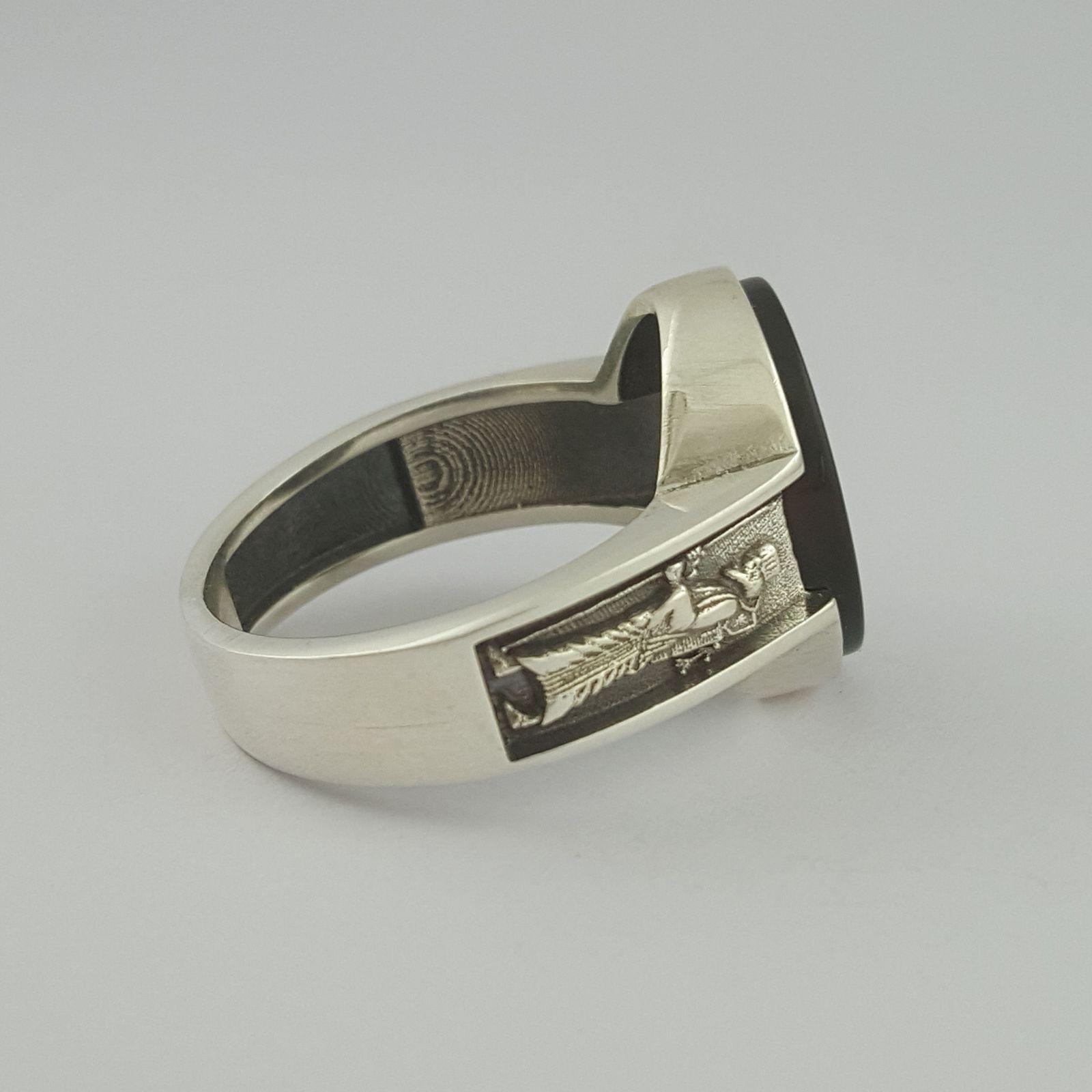 انگشتر نقره مردانه بلو استون کد 1069-65 -  - 3