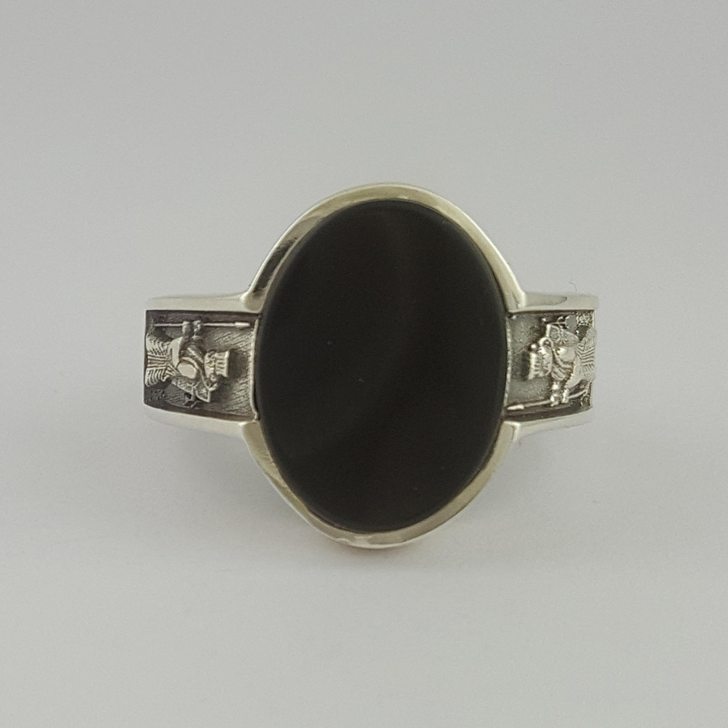 انگشتر نقره مردانه بلو استون کد 1069-65 -  - 6