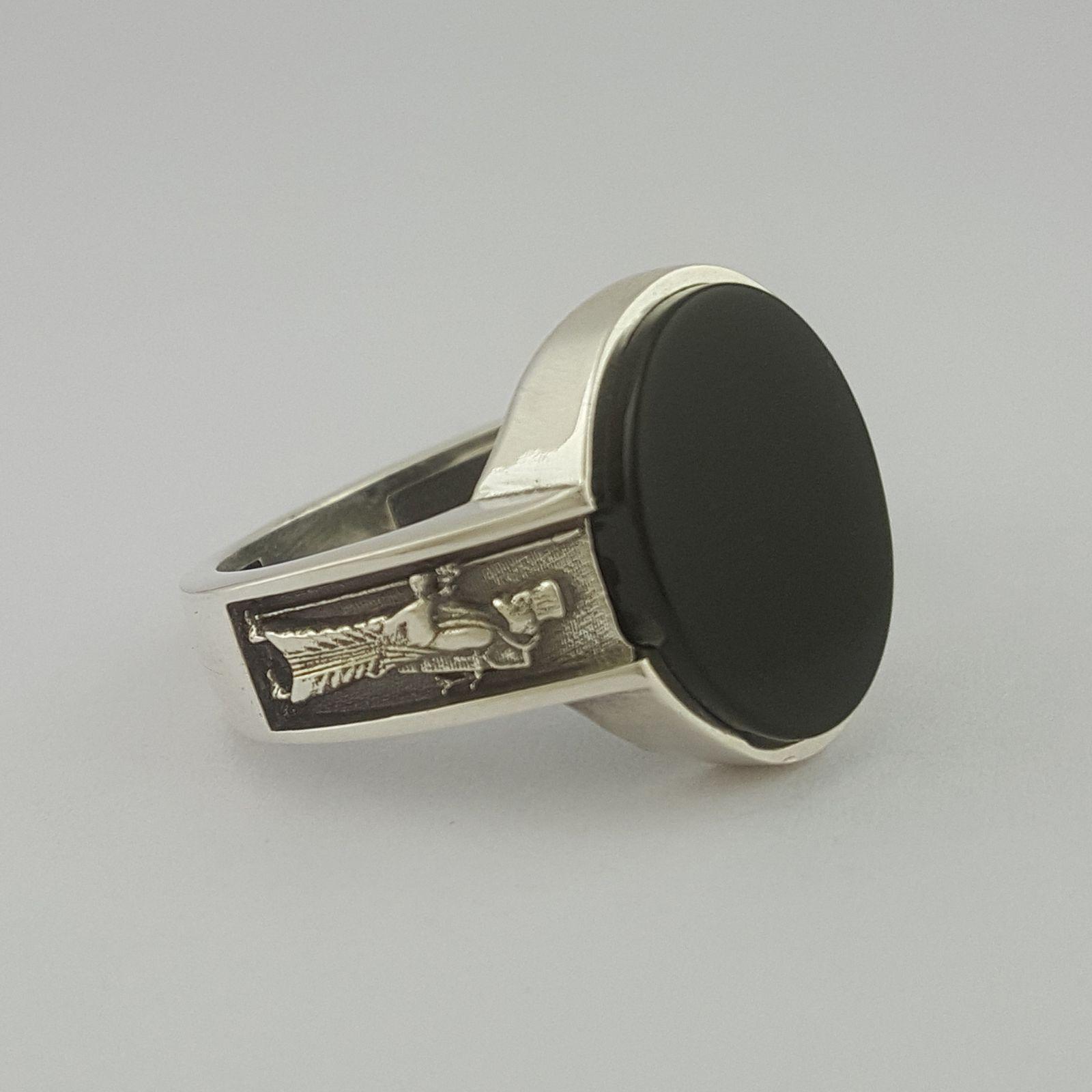 انگشتر نقره مردانه بلو استون کد 1069-65 -  - 4