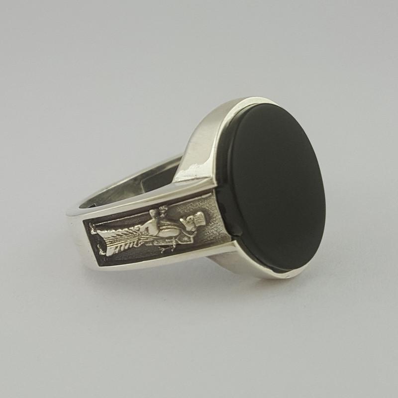 انگشتر نقره مردانه بلو استون کد 1069-63