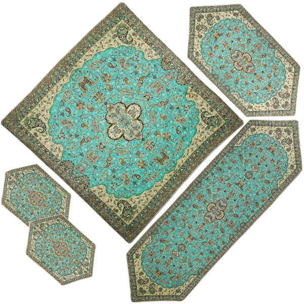 ست 5 تکه رومیزی ترمه مدل شاه عباسی کد SBZBCV5-5