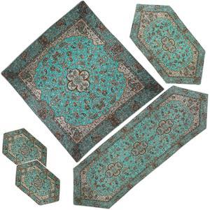 ست 5 تکه رومیزی ترمه شوکران یزد مدل شاه عباسی کد SBZB5-5