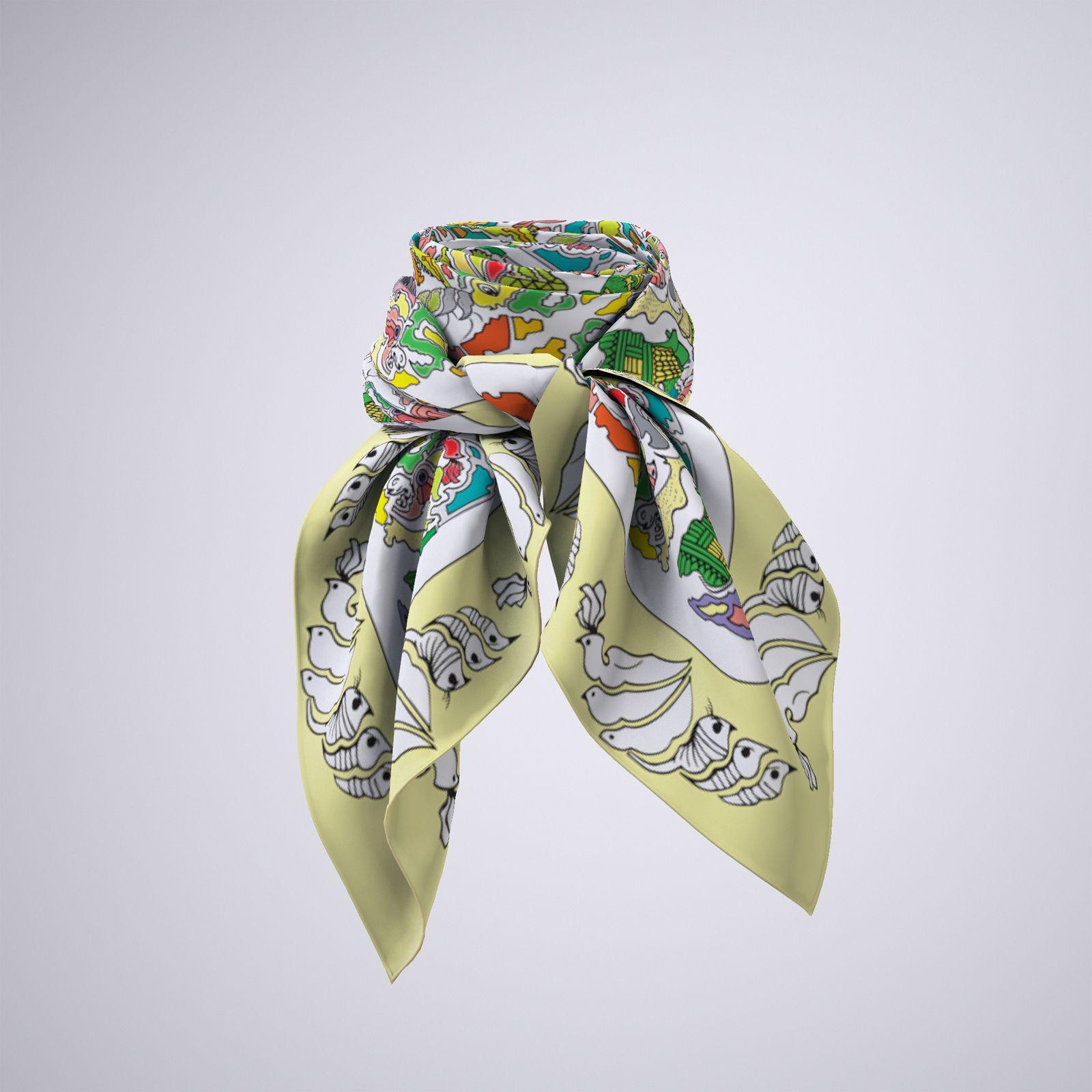روسری زنانه مدل باغ پرندگان کد 01 -  - 4
