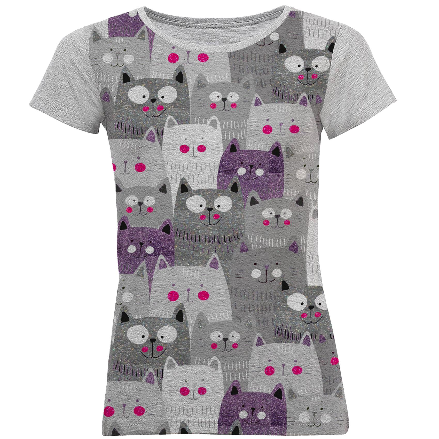 تصویر تی شرت آستین کوتاه زنانه طرح cat1 کد M01