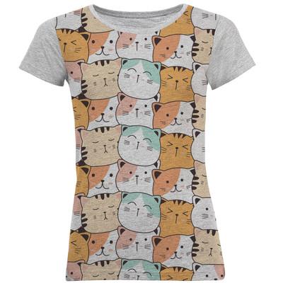 تی شرت آستین کوتاه زنانه طرح cat2 کد M05