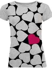 تی شرت آستین کوتاه زنانه طرح heart کد M06 -  - 1