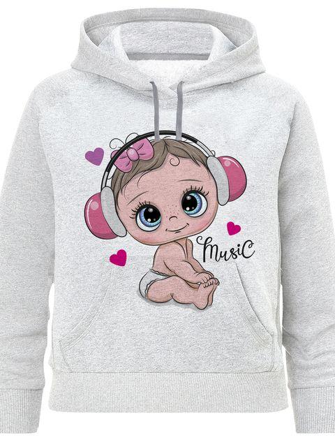 هودی دخترانه طرح MUSIC کد F417