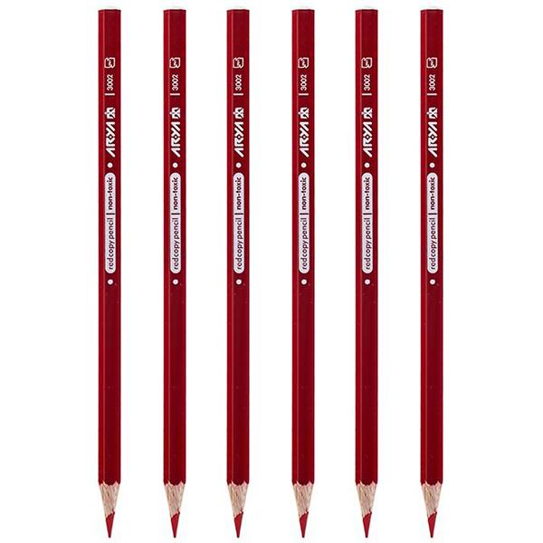 مداد قرمز آریا کد 3002 بسته 6 عددی