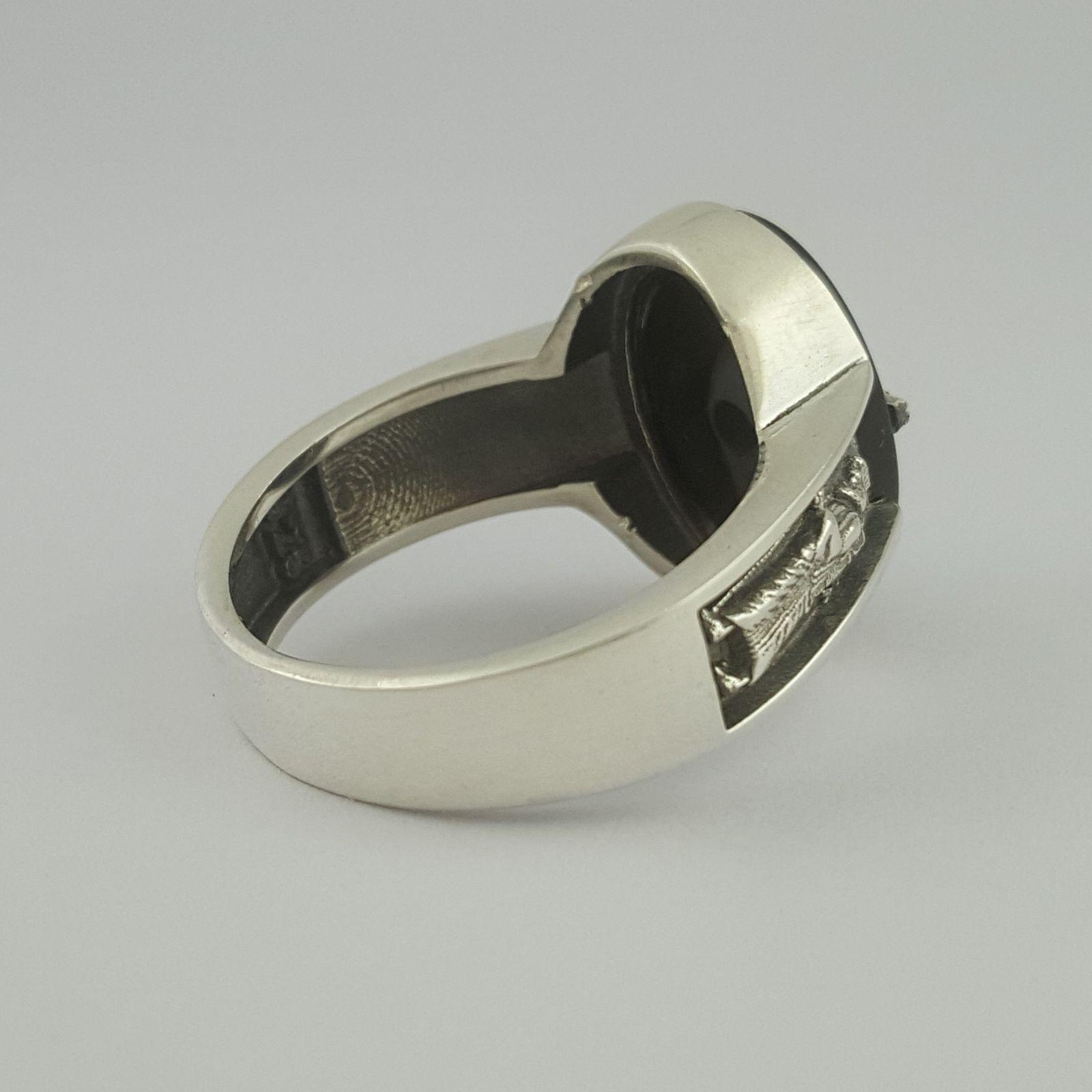 انگشتر نقره مردانه بلو استون کد 1070-63 -  - 3