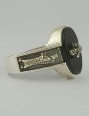 انگشتر نقره مردانه بلو استون کد 1070-63 -  - 1