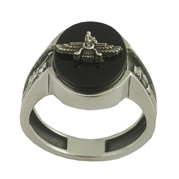 انگشتر نقره مردانه بلو استون کد 1070-61