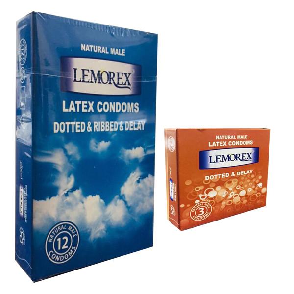 کاندوم لمورکس مدل خاردار و  شیاردار تاخیری بسته 12 عددی به همراه کاندوم مدل خاردار بسته 3 عددی