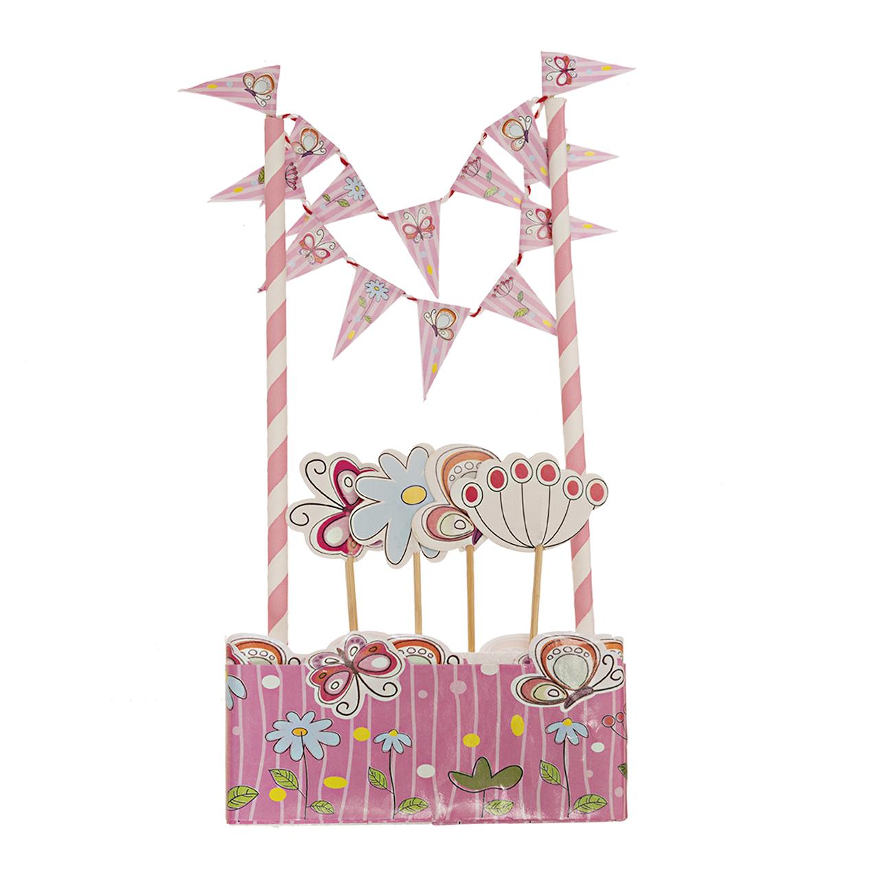 تاپر کیک مدل گل و پروانه کد m 470