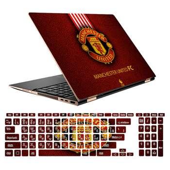 استیکر لپ تاپ طرح Manchester United کد 01 مناسب برای لپ تاپ 15.6 اینچ به همراه بر چسب حروف فارسی کیبورد