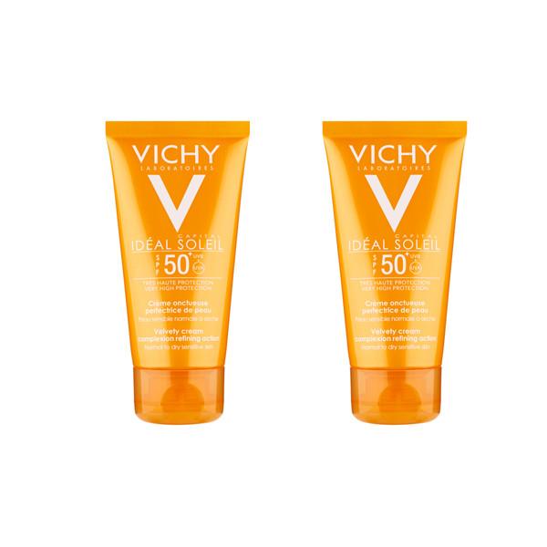 کرم ضد آفتاب ویشی مدل Velvety حجم 50 میلی لیتر مجموعه 2 عددی