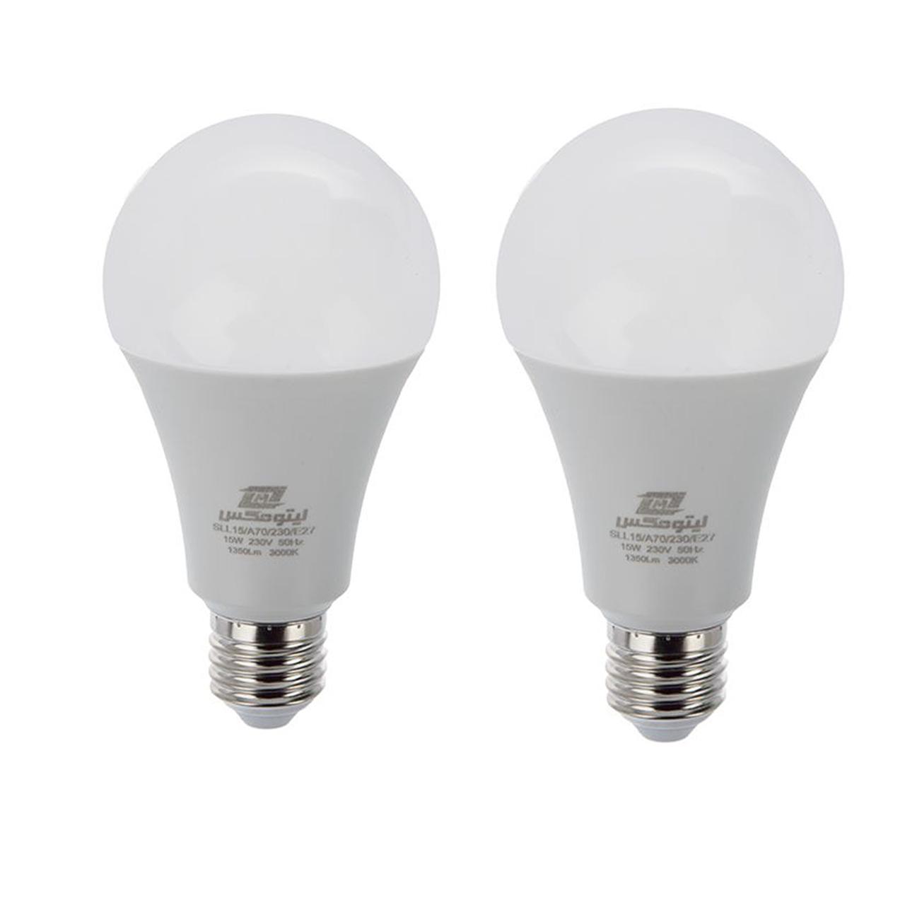 لامپ ال ای دی 15 وات لیتومکس کد 001 پایه E27 بسته 2 عددی