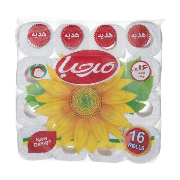 دستمال توالت 100 برگ مرحبا مدل Flower بسته 16 عددی
