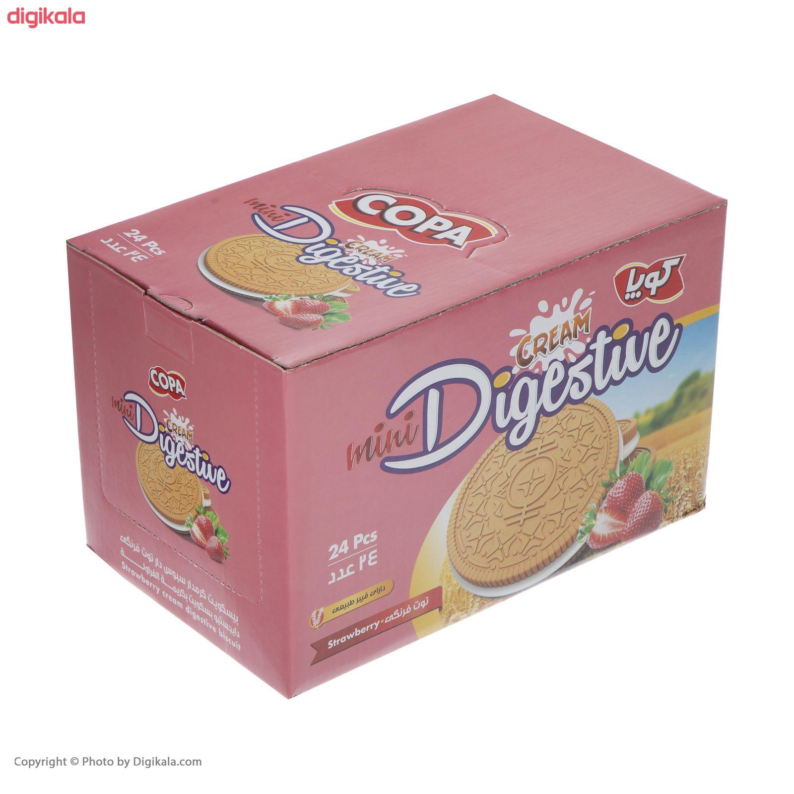 بیسکویت کرمدار دایجستیو کوپا با طعم توت فرنگی - بسته 24 عددی  main 1 2