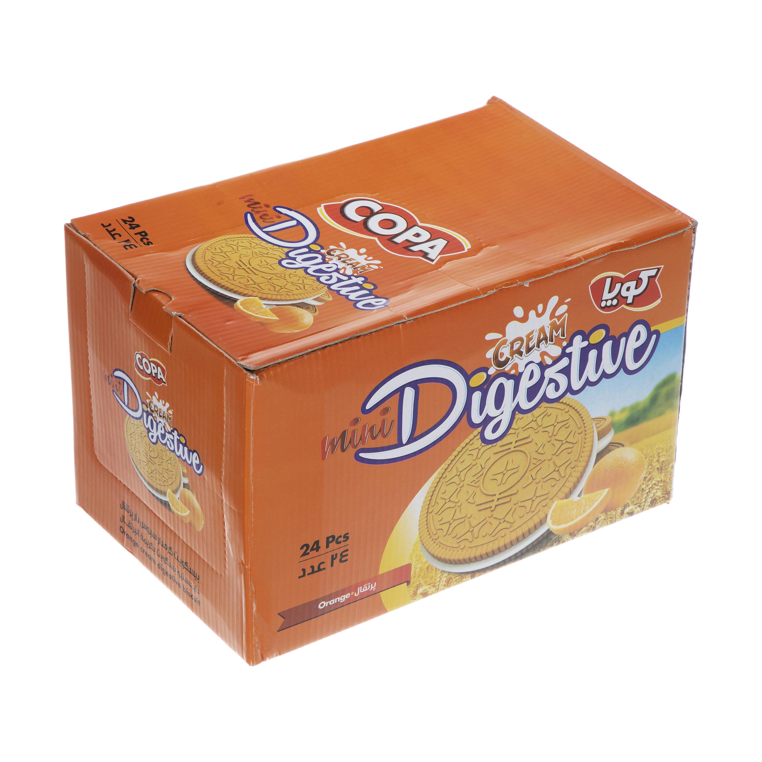 بیسکویت کرمدار دایجستیو کوپا با طعم پرتقال - بسته 24 عددی