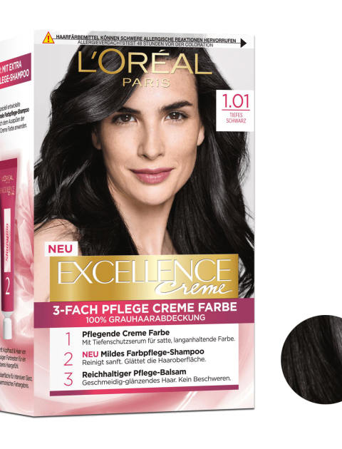 کیت رنگ مو لورآل سری Excellence شماره 1.01 حجم 48 میلی لیتر رنگ مشکی