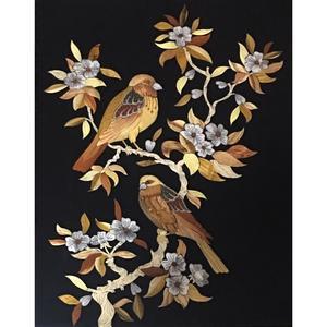 تابلو معرق کاری طرح گل و مرغ کد 001