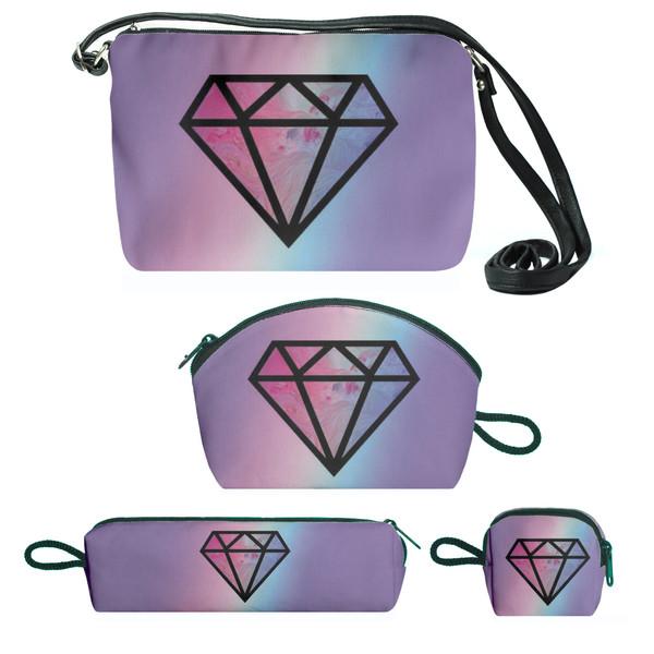کیف دخترانه طرح الماس مجموعه 4 عددی