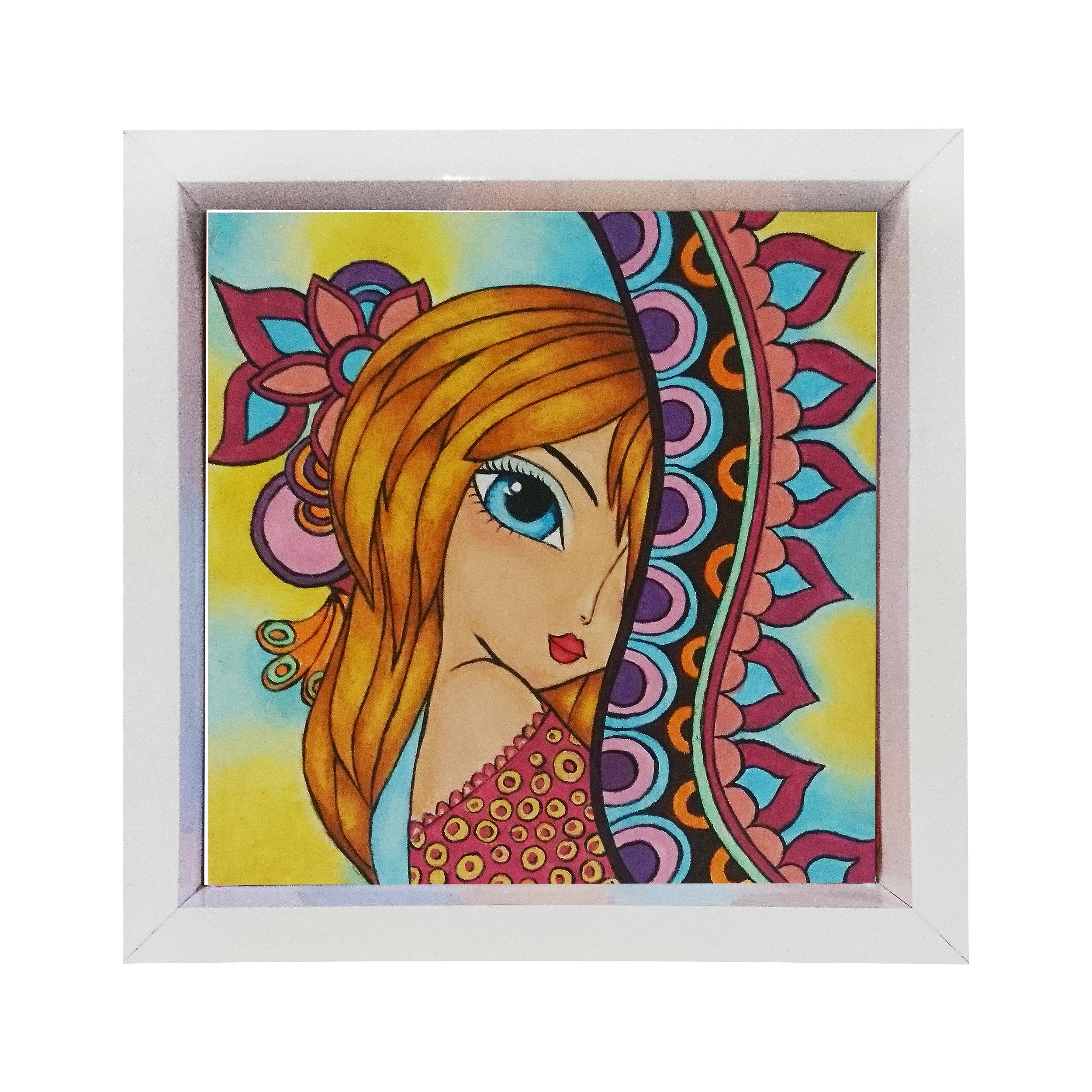 تابلو نقاشی رنگ روغن مدل دختر منتظر