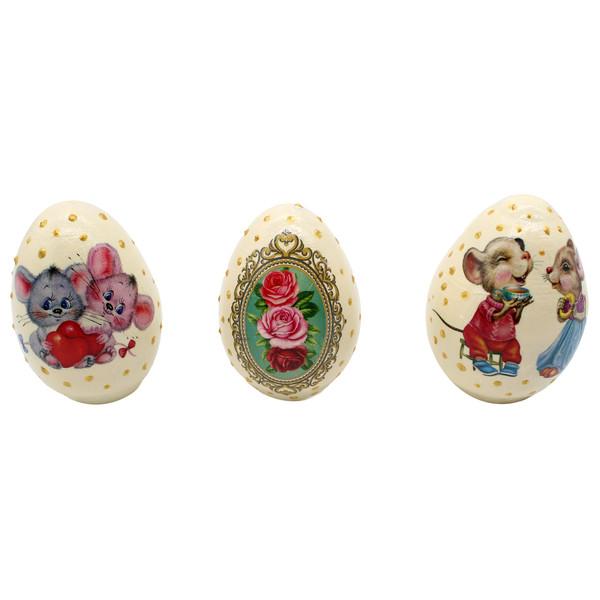 تخم مرغ تزیینی طرح موش کد GH-018 مجموعه سه عددی
